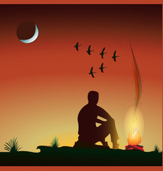 Man by the fire in the evening vector