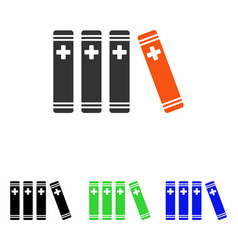 Medical books flat icon vector