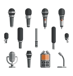 Microphones and dictaphone flat icons vector image