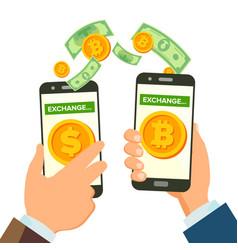 money exchange banking concept human hand vector image