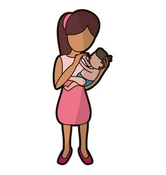 mother holding son lovely vector image