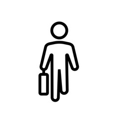 moving man with working suitcase front view icon vector image