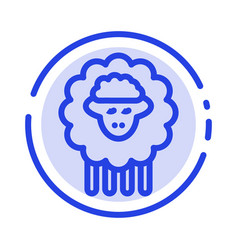 Mutton ram sheep spring blue dotted line line icon vector