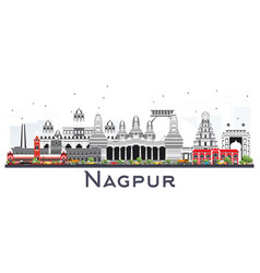 Nagpur india city skyline with gray buildings vector