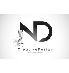Nd letter logo design with black smoke vector