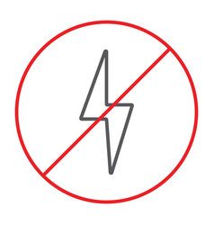 no electricity thin line icon prohibited and ban vector image