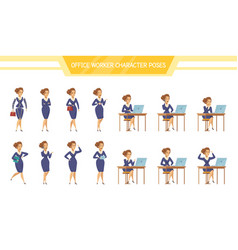 Office worker female ale poses set vector