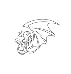 one single line drawing scary beast dragon vector image
