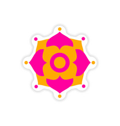 Paper sticker indian symbols on white background vector
