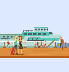 Passangers boarding a cruise liner part of people vector
