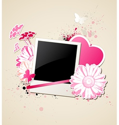 Photo and flowers for valentines day vector