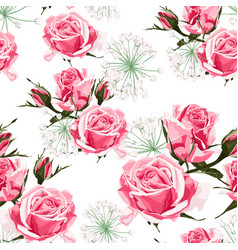 pink roses and white herbs seamless pattern vector image