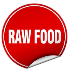 Raw food round red sticker isolated on white vector