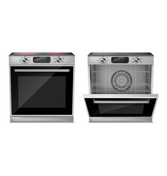 Realistic oven with induction cooktop vector