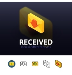 Recived icon in different style vector