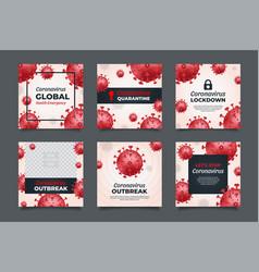 red coronavirus social media post templates vector image