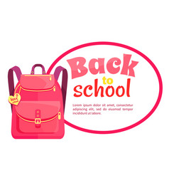 rucksack for girl in pink colors with inscription vector image