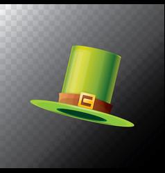 Saint patricks day green glossy hat clover vector