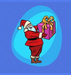 santa claus with gift box comic cartoon pop art vector image