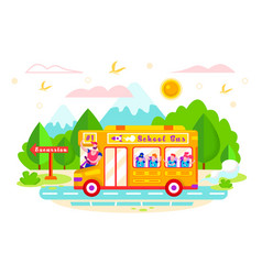 School bus rides on excursion vector