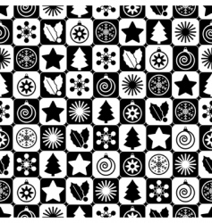 Seamless black and white Christmas vector