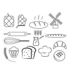 Set of bakery line icons and design elements vector image