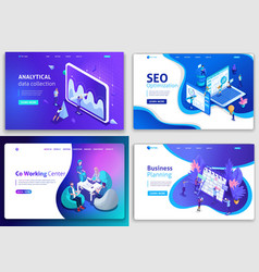 set web page design templates for business vector image