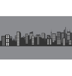 Silhouette city at night with gray color vector