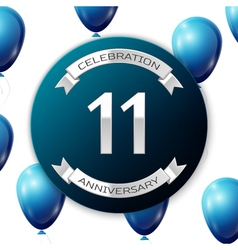 Silver number eleven years anniversary celebration vector image