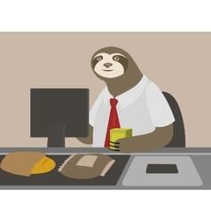 Sloth cashier guy in shop vector