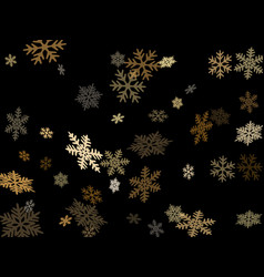 Snow flakes falling on black macro background vector