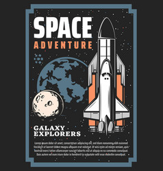 Space exploration spaceship and galaxy planets vector