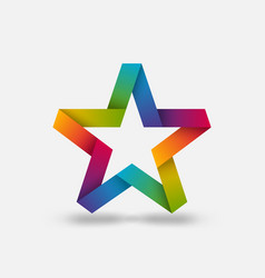 star ribbon symbol in rainbow gradient colors vector image