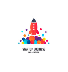 startup business logo space rocket icon vector image