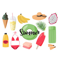 Summer collection elements beach party vector