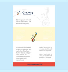 template layout for love guitar comany profile vector image