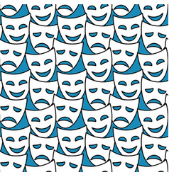 Theater masks seamless pattern background vector