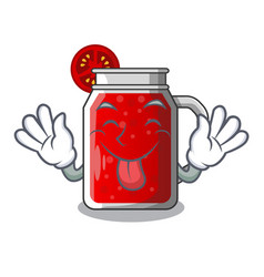 Tongue out fresh tomato juice isolated on mascot vector