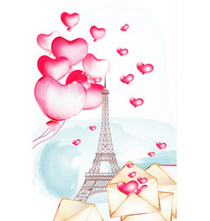 Tour eiffel with watercolor balloons flying nearby vector