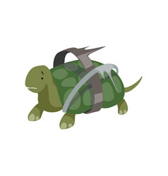 turtle in plastic waste global environmental vector image