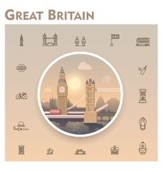 United Kingdom travel icon set vector image