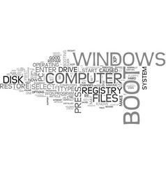 what to do when windows won t boot text word vector image