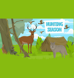 wildlife animals in forest hunting season vector image