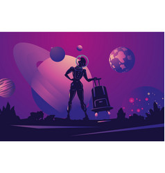 woman astronaut in spacesuit with travel bag vector image