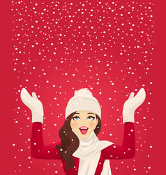 woman in snowfall vector image