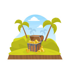 wooden pirate ancient chest gold on tropical vector image