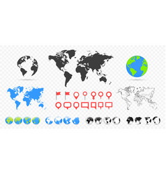 world maps and globes set business background vector image