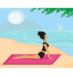 Yoga girl in dog position vector