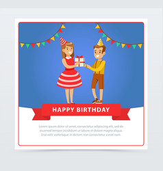 cute boy and girl with gift box kids birthday vector image vector image