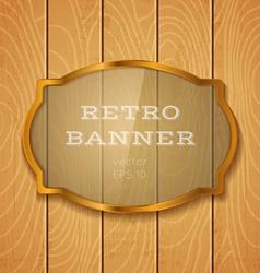 glass banner on light wooden background vector image